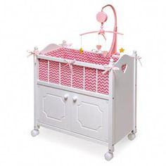 Badger Basket Cabinet Doll Crib With Chevron Bedding, Musical Mobile, Wheels, And Free Personalization Kit Fits American Girl Dolls Baby Doll Crib, Baby Dolls, Baby Cribs, Chevron Bedding, Musical Mobile, Crib Sets, Bedding Sets, Wooden Dolls, Doll Furniture