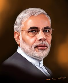 Narendra Modi of India Indian Women Painting, 3d Art Drawing, Blur Photo Background, Shiva Art, Actors Images, Celebrity Drawings, Black And White Pictures, Woman Painting, Portrait Art