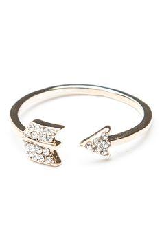 Brandy ♥ Melville | Gold Gem Arrow Ring - Jewelry - Accessories $5