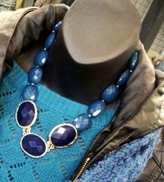 Blue statement necklace! <3 Make any outfit pop with bright and bold jewelry. My Fashion Corner has a huge selection of statement necklaces and bubble jewelry!