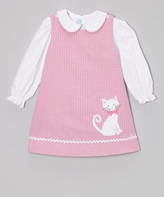 Pink Plaid Kitty Jumper & White Blouse - Toddler & Girls by Monday's Child on zulily Toddler Dress, Toddler Outfits, Kids Outfits, Toddler Girls, Little Girl Outfits, Little Girl Dresses, Baby Girl Dresses, Baby Dress, Frocks For Girls
