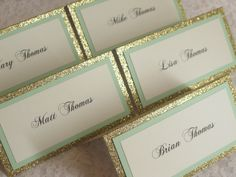 Gold Glitter & Mint Tented Place Cards, Escort cards, Name Cards - #108 by WeddingSparkles on Etsy https://www.etsy.com/listing/194264204/gold-glitter-mint-tented-place-cards