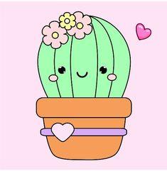 Kawaii Doodles, Cute Kawaii Drawings, Kawaii Crush, Cactus Cartoon, Drawing Cartoon Faces, Cactus Illustration, Cactus Stickers, Cactus Drawing, Fabric Painting