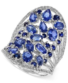 Effy Sapphire (4-5/8 ct. t.w.) and Diamond (5/8 ct. t.w.) Ring in 14k White Gold