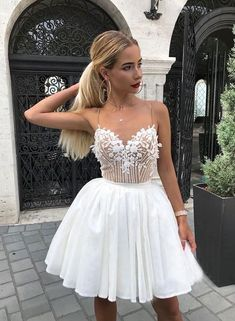 prom dresses short White V-neckline, short prom dress, homecoming dress Sexy Homecoming Dresses, Hoco Dresses, Sexy Dresses, Party Dresses, Wedding Dresses, Short Prom Dresses, Luulla Dresses, Prom Outfits, Casual Dresses