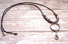 Lanyard Leather lanyard key ring ID badge by HeavenlyTreasuresLG