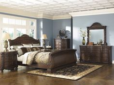 Ashley Furniture North Shore Bedroom Furniture collection in Dark Brown Cherry. Ashley North Shore Sleigh Bedroom Set with matching dresser, mirror, night stands and chest. King Size Bedroom Sets, Queen Bedroom, White Bedroom, Modern Bedroom, Master Bedroom, Master Suite, Bedroom Bed, Dream Bedroom, Bed Room