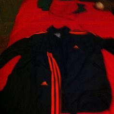 Adidas sweat suit Navy blue orange stripes Adidas Other