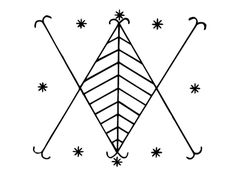 Ayizan veve as drawn by Sallie Ann Glassman (from New Orleans)-- I have this on my lower back. It was my very first tattoo!