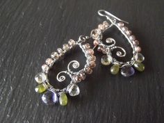 Inspired by Pinterest!!! Iolite, Tsavorite, Lemon Quartz, Andalusite and sterling silver earrings. Weirdly Wired Jewelry