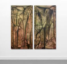 607 - 608 by Anita Levering 762 * 1524 mm each acrylic and oil colour on polyester 2014
