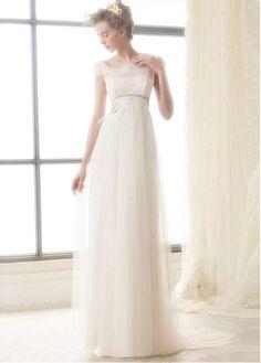 Gorgeous Tulle Square Neckline A-line Wedding Dresses With Lace Appliques
