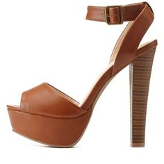 Charlotte Russe Chestnut Ankle Strap Platform Chunky Heels by... ($36) ❤ liked on Polyvore