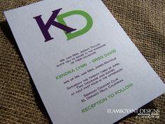 Combined Love Simple and Modern Monogram Wedding Invitation