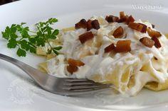 Cestoviny s tvarohom, smotanou a slaninkovými škvarkami (fotorecept) - Recept
