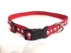 Dog collar-Red paw print dog collar red dog by DazzleDoggieDesigns