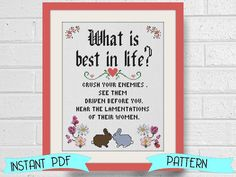 Subversive Cross Stitch  What is Best in Life by LindyStitches