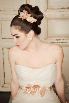 Rose gold beaded wedding hair clip with a lovely bun!
