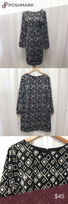 6914d6e2920 NWT Ann Taylor Loft black diamond shift dress 12 NWT Ann Taylor Loft black  diamond shift dress. Straight cut, body is fully lined, blouson sleeves  with ...