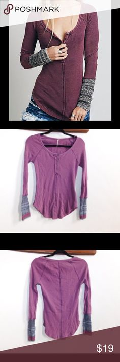 Free People Alpine Cuff Top Plum Sweater, Small Beautiful, Plum Free People Sweater. Size Small - runs true to size. Shirt has lots of stretch and is warm. New, never worn. Free People Tops Tees - Long Sleeve
