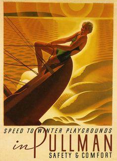 Pullman Sailboats Art Deco Style Poster Art.