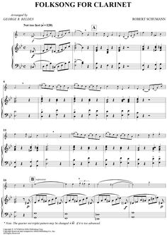 """Folksong For Clarinet"" Sheet Music: www.onlinesheetmusic.com"