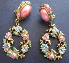 Vintage Earrings Two Sisters Dangles Pink by BrightgemsTreasures, $12.50