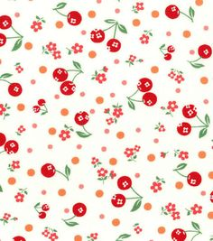 New, Japanese, ATSUKO MATSUYAMA, 30's Collection, Cherries and Flowers in Red on Ivory, 1/2 Yard. $8,00, via Etsy.