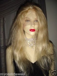 Blonde Remi Remy Human Hair FULL Lace Wig Wigs 22""