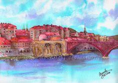 """Maribor"" by TokyoMoonlight (Marcela), watercolor. DEVIANTART: tokyomoonlight.de... TUMBLR: tokyomoonlightart... #watercolor #painting #art #landscape #Maribor #Slovenia"