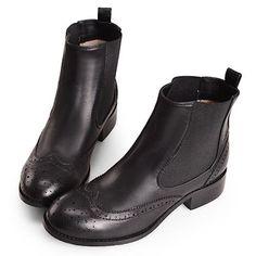 Women Black Leather Flat Dress Chelsea Brogue Boots SKU-143101