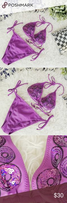 CALZEDONIA COBEY purple embellished swimsuit set Italian swimsuit brand. Please let me know if you have any questions or you want to make an offer  Calzedonia Swim Bikinis
