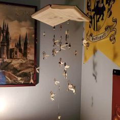 Harry Potter Flying Key Book Mobile / Wall Hanging / Gift / Nursery / Baby / Boy / Girl / Office / Reading Nook / Bedroom / Custom