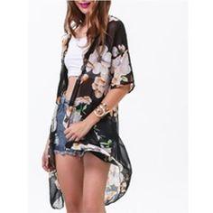 Zanzea Fashion 2017 Women Casual Loose Chiffon Blusas Ladies Boho Hippie Floral Blouse Long Kimono Coat Cardigan Outwear