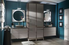 Passage - Hammered Stainless Steel vanity by #WoodMode.