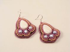Mother of pearl and pearl bead embroidery earrings