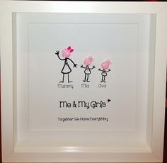 Personalised Family Button Pictures by ButtonInLove on Etsy Box Frame Art, White Box Frame, Box Frames, Button Canvas, Button Art, Wall Art Crafts, Frame Crafts, Button Family, Stick Family