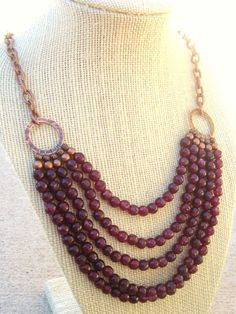 Garnet Bib Necklace.  Multi Strand Garnet Necklace. Copper Chain Beadwork Neckace. Bib Necklace. Statement. Garnet Jewelry on Etsy, $38.00