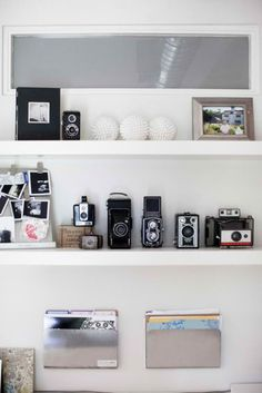 vintage camera shelves- white