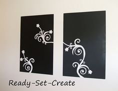 Easy DIY Canvas Paintings using contact paper. Love!! So many ideas for sillouette paintings!