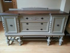 Tan over black sideboard.  Top refinished javevgel stain.  www.facebook.com/OlCountryChic