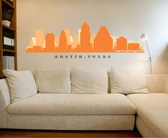 "Austin TEXAS Skyline Wall Decal Art Vinyl Matte Removable Sticker 30""x9"" Living Room City Decals Office Real Estate Business Decor"