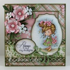 Featuring 'Jillian' from Wee Stamps.   #WeeStamps #WhimsyStamps #crafts #cards #DIY #handmadecard #cardmaking #rubberstamping #promarkers #paperflowers