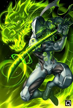 """Ryujin no ken wo kurae! - Overwatch fan art by Drake (Winson) Tsui """"A series of illustrations featuring characters performing their """"Ultimates"""" from Blizzard's Overwatch"""" More from Drake Tsui's. Genji Overwatch, Overwatch Comic, Overwatch Memes, Overwatch Fan Art, Overwatch Ultimates, Overwatch Dragons, Snow Fox, King's Quest, Drake"""