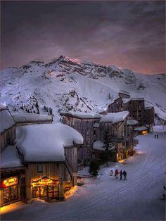 Alpine glow sunset, Trois Vallées, The French Alps~ ♥ #DestinationWeddings #honeymoon wedfunapps.com @WedFunApps ♥'s