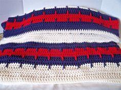 Handmade patriotic red white blue throw afghan blanket #Handmade