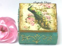 Peacock keepsake box,Wedding Ring Bearer Box, Peacock Vintage Box, Peacock Jewelry Box,Keepsake box, Memory box, Retro Box, Jewelry box