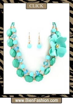 Bold Necklace | Bold Jewelry | Chunky Jewelry | Fashion Accessories | Bien Fashion | Bien | Fashion | BF | Chunky Necklace | SHOP NOW ♥ Blue Chip Unlimited - Chunky Turquoise Colored Lucite Flower and Mixed Bead Multi-Strand 17.5in Sweater Necklace & Matching Earrings Set Fashion Jewelry $34.95