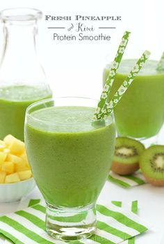 Fresh Pineapple and Kiwi Protein Smoothie - So delicious, a wonderful way to start the day - a secret ingredient provides lots of energy and keeps you satisfied for hours.