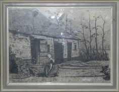 Haverkamp, Gerrit   Knielende vrouw bij boerderij   landschappen   Caput Ovis   collectie schilderijen & kunst